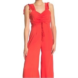 NWT NSR Monica Ruched Tie Pant Jumpsuit Coral